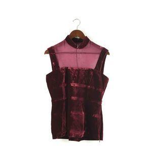 L'Wren Scott Tea Time Size 44 Red Velvet Silk Top
